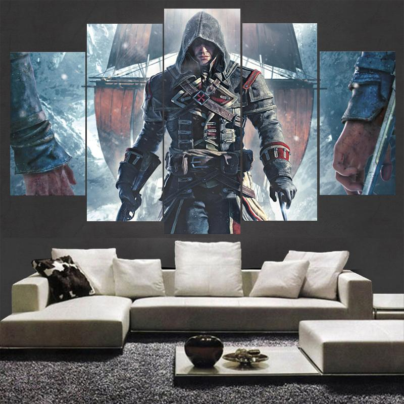 5 Piece Assassins Creed Character Movie Canvas Wall Art Paintings - It Make Your Day