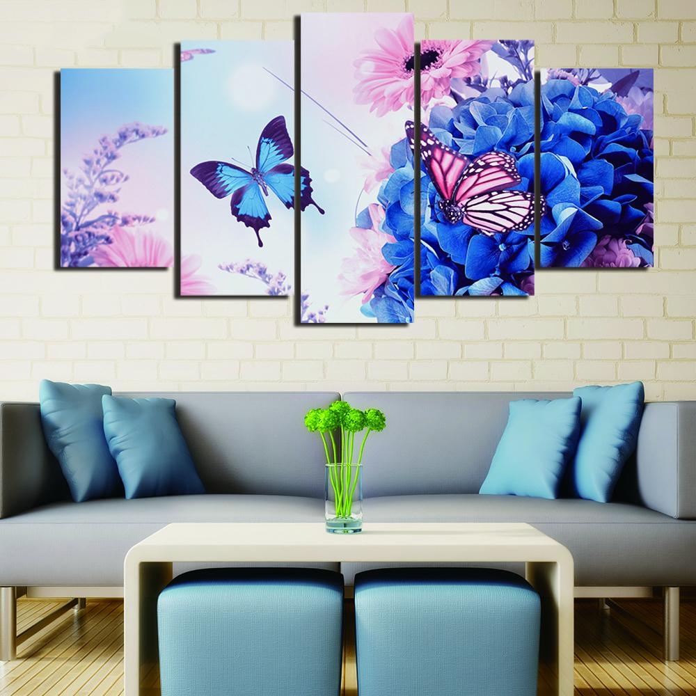 Framed 5 Piece Blue Butterfly Canvas Wall Art Sets   It Make Your Day