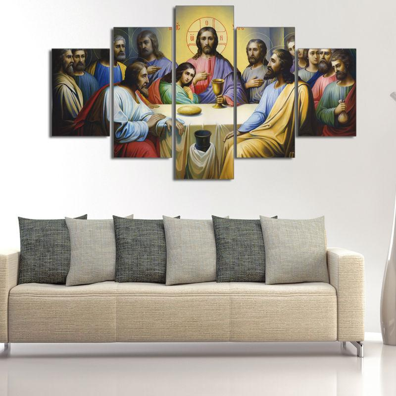 5 Piece Jesus The Last Supper Canvas Wall Art Paintings - It Make Your Day