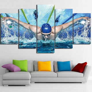 5 Piece Swimming Pool Fitness Gym Canvas Wall Art Paintings - It Make Your Day