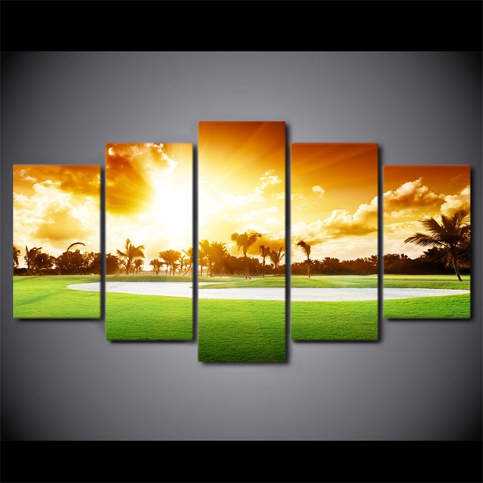 5 Pieces Golf Course Sunset Print Canvas Wall Art Paintings For Sale ...