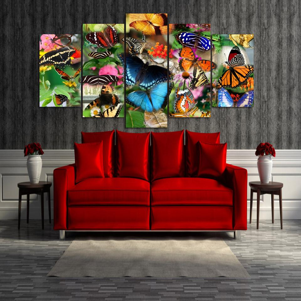 Framed 5 Piece Colorful Butterfly Canvas Wall Art Sets - It Make Your Day