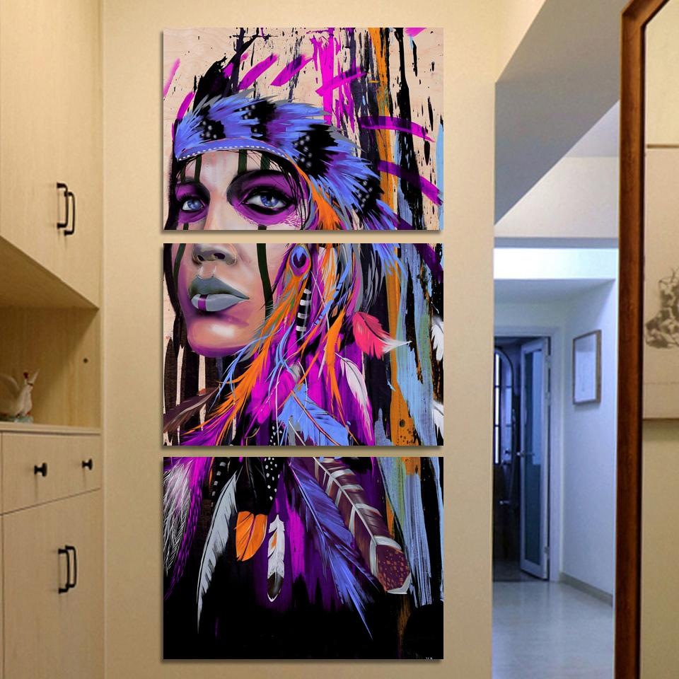 3 Piece Native American Indian Girl Feathered Poster Canvas Wall Art Paintings - It Make Your Day