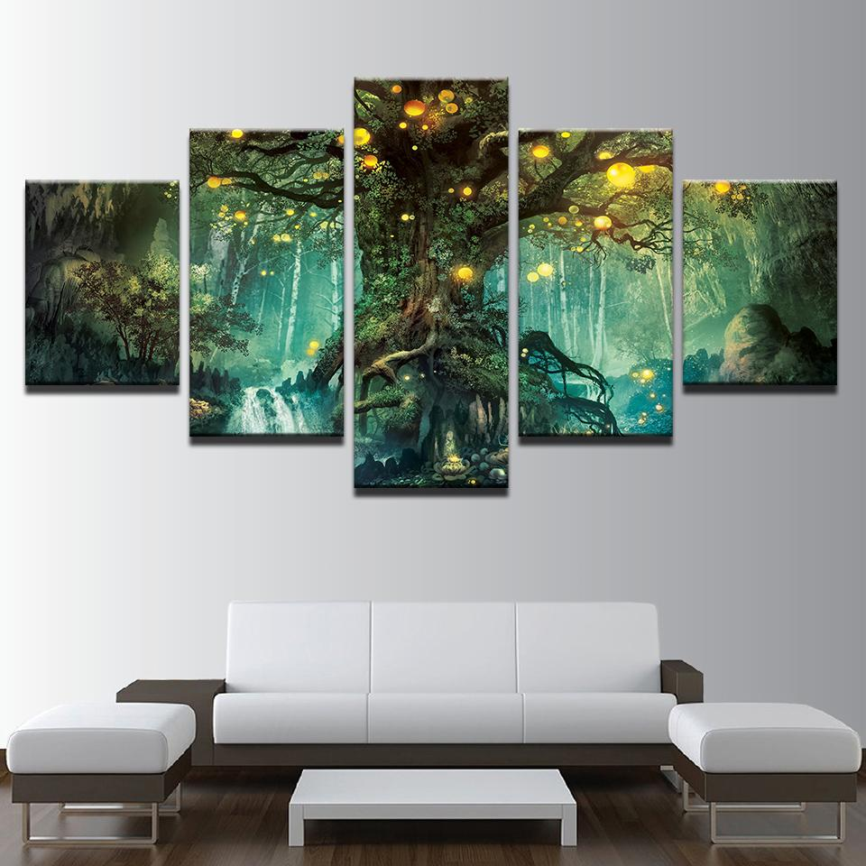 5 Piece Enchanted Tree Scenery Modular Vintage Canvas Wall Art Paintings - It Make Your Day & 5 Piece Enchanted Tree Scenery Vintage Canvas Wall Art Paintings ...