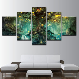 5 Piece Enchanted Tree Scenery Modular Vintage Canvas Wall Art Paintings - It Make Your Day