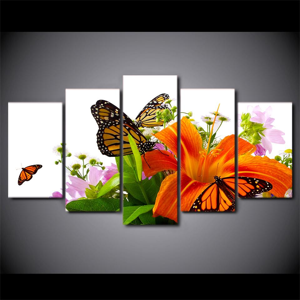 Framed 5 Piece Lilies and Orange Butterflies Canvas Wall Art Sets - It Make Your Day