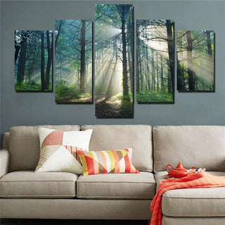 5 Piece Sunshine Forest Natural Landscape Canvas Wall Art Paintings - It Make Your Day