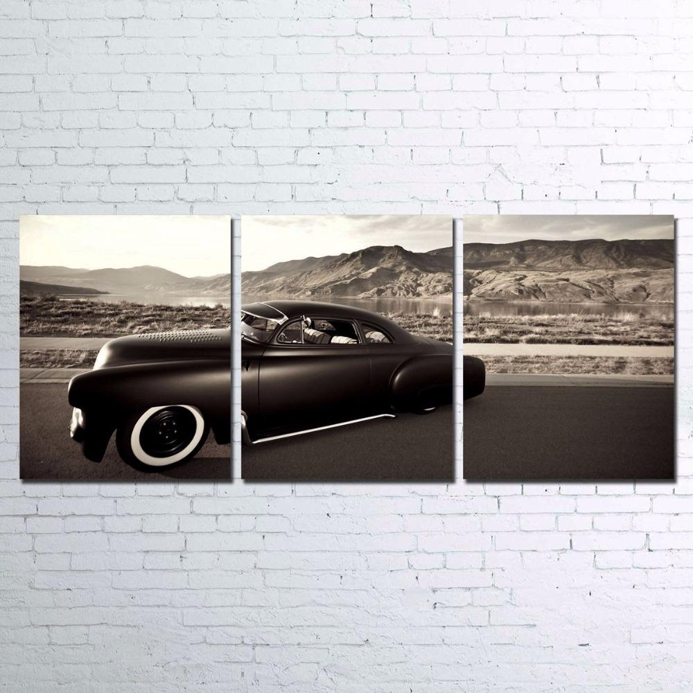 3 Piece Black Retro Luxury Sports Car Canvas Wall Art Sets - It Make Your Day