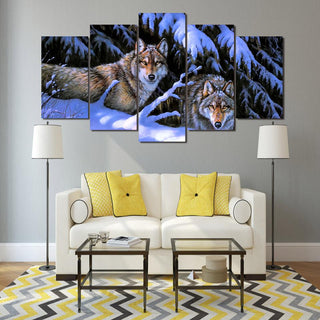 5 Piece Snow Mountain Wolves Canvas Wall Art Paintings - It Make Your Day