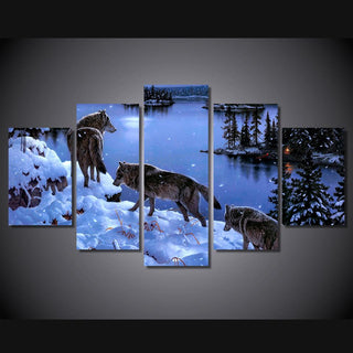 5 Piece Snow Wolf Lake Canvas Wall Art Paintings - It Make Your Day