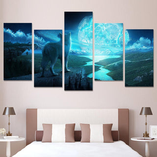 5 Piece The Wolf and The Planet Canvas Wall Art Paintings - It Make Your Day