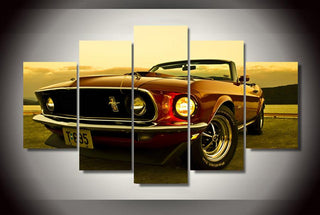5 Pieces Ford Mustang Car Canvas Prints - It Make Your Day