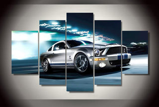 5 Pieces Ford Mustang Gray Shelby Car Canvas - It Make Your Day