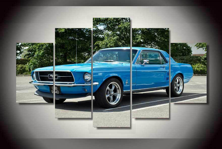 5 Pieces Mustang Muscle Cars Canvas - It Make Your Day & 5 Piece Mustang Muscle Cars Canvas Wall Art Paintings For Sale u2013 It ...