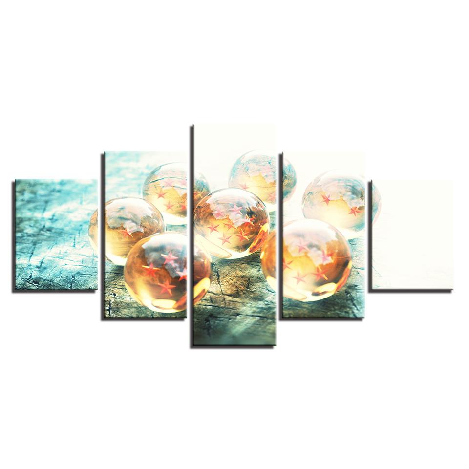 Framed 5 Piece Cartoon Anime Dragon Ball 2 Canvas Wall Art Paintings - It Make Your Day