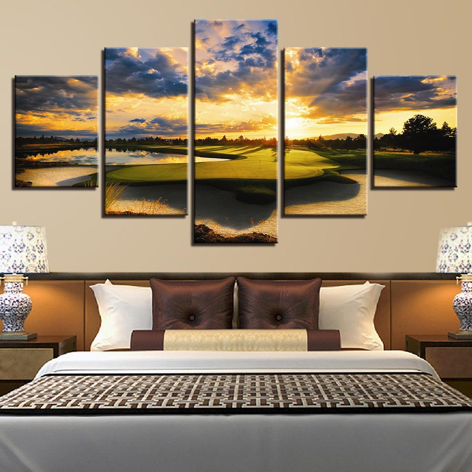 5 Piece Sunset Golf Course Canvas Painting - It Make Your Day