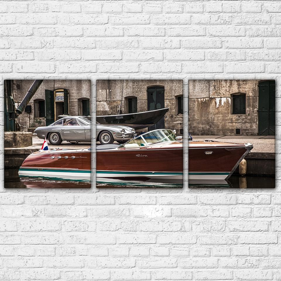 3 Piece Luxury Sports Car And Yachts Canvas Wall Art Sets - It Make Your Day