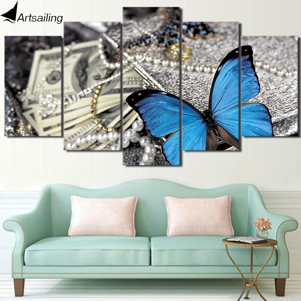 Framed 5 Piece Butterfly Jewelry Canvas Wall Art Sets   It Make Your Day
