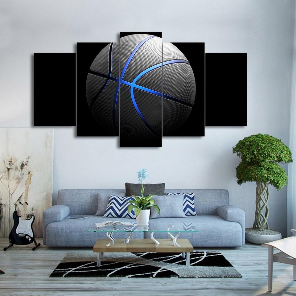 Amazing 5 Piece Blue Light Sports Basketball Canvas Wall Art Painting   It Make  Your Day