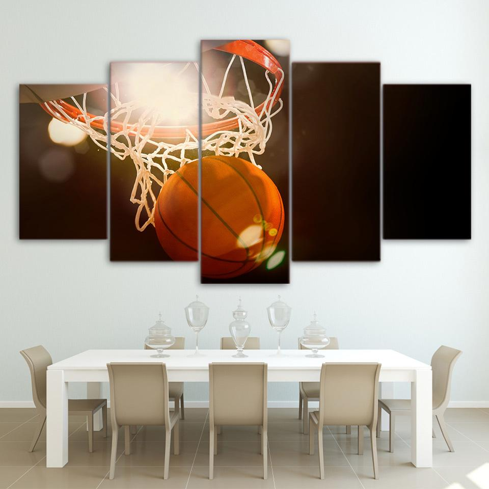 5 Piece Score Sports Basketball Canvas Painting Wall Art - It Make Your Day