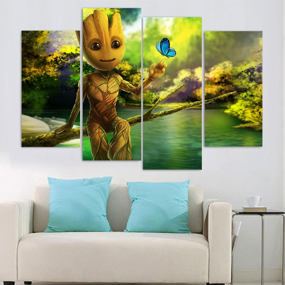 Framed 5 Piece Baby Groot and Butterfly Canvas Wall Art Sets - It Make Your Day