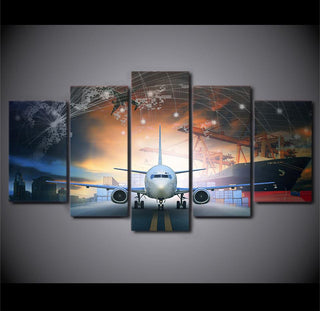 5 Piece Airplane City Canvas Painting Wall Art - It Make Your Day