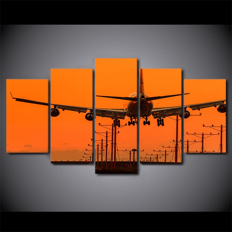 5 Piece Airplane Wall Decor Canvas Paintings - It Make Your Day