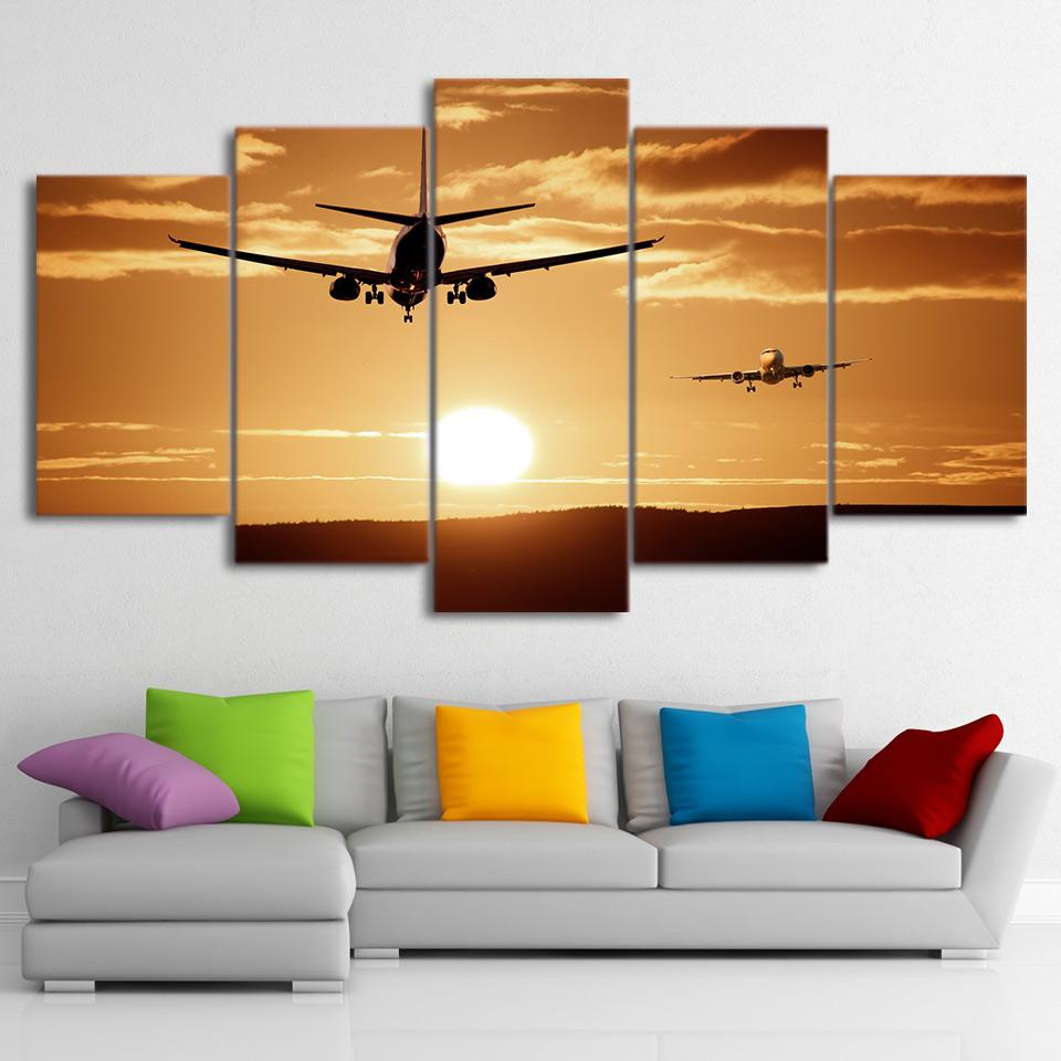 5 Piece Airplane Sunset Canvas Wall Art Painting – It Make Your Day