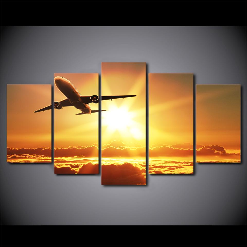 5 Piece Sunset Take Off Airplane Canvas Wall Art - It Make Your Day
