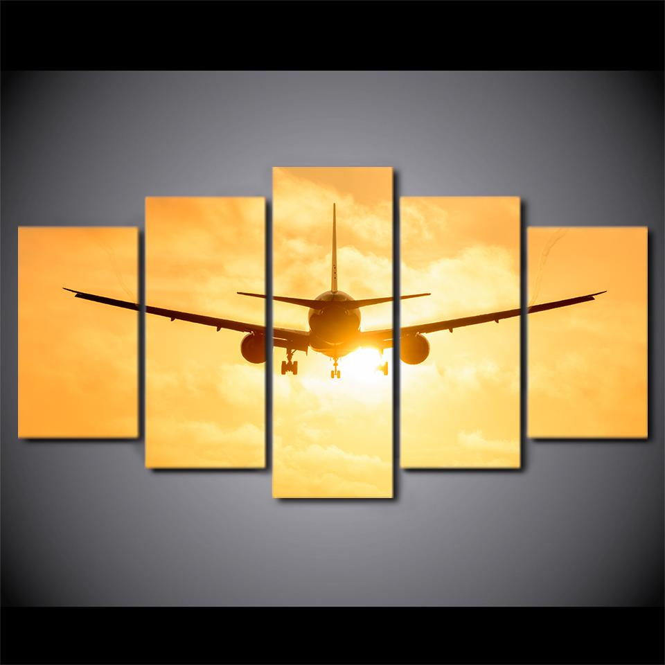5 Piece Airplane In Sunset Canvas Wall Art Painting – It Make Your Day