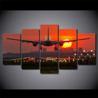 5 Piece Airplane Red Sunset Canvas Paintings - It Make Your Day