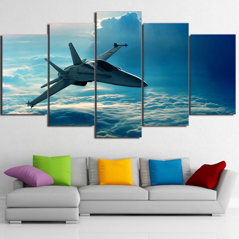 5 Piece Airplane Flying In Clouds Canvas Wall Art - It Make Your Day