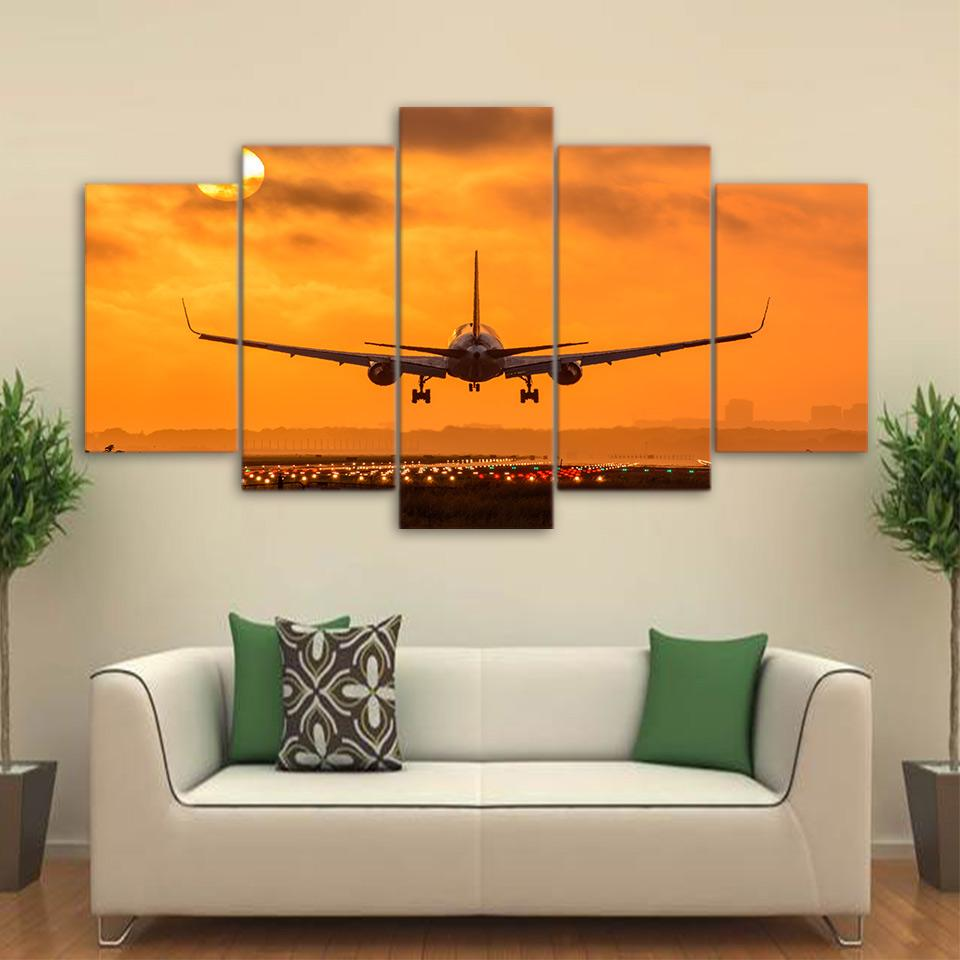 5 Piece Sunset Airplane Take Off Canvas Paintings - It Make Your Day