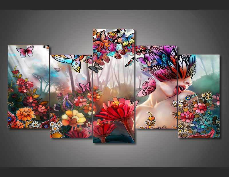 Framed 5 Piece Butterfly Girl Canvas Wall Art Sets - It Make Your Day