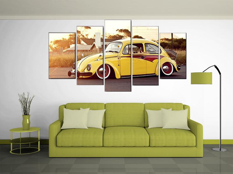 5 Pieces Yellow Volkswagen Beetle Car Canvas - It Make Your Day