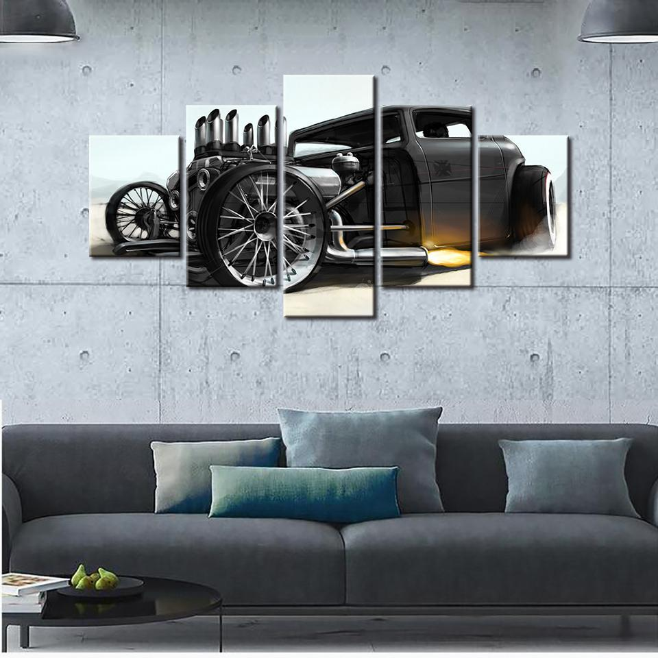 5 Pieces Ford Hot Rod Wall Canvas - It Make Your Day