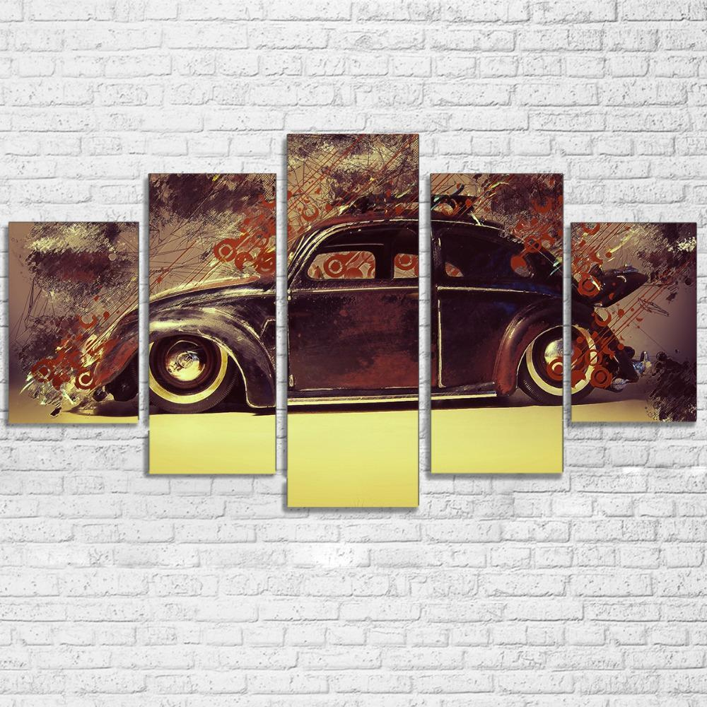 5 Pieces Volkswagen Beetle Car Canvas Art - It Make Your Day