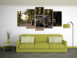 5 Pieces Vintage Hot Rod Wall Canvas Painting - It Make Your Day