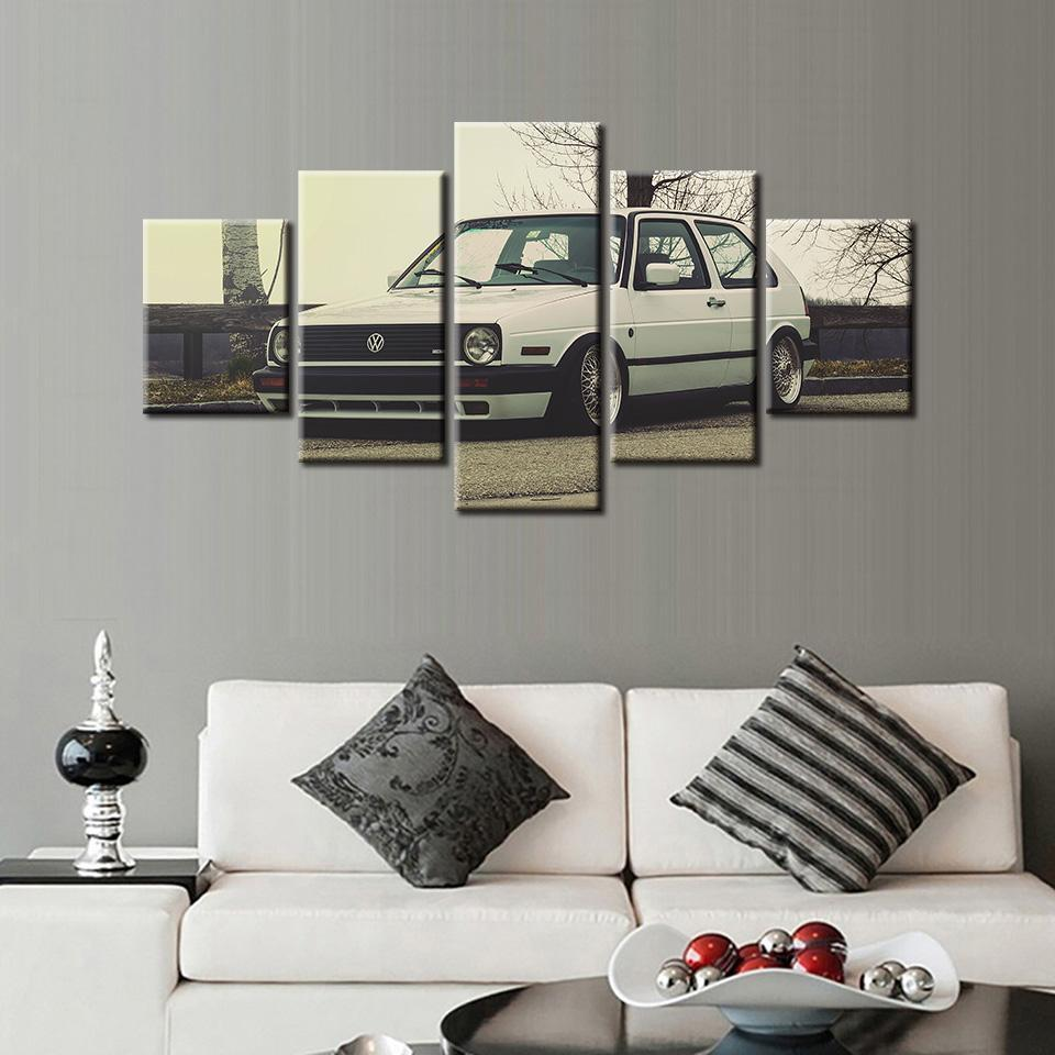 5 Piece HD Printed Volkswagen Golf MK2 Canvas Painting - It Make Your Day