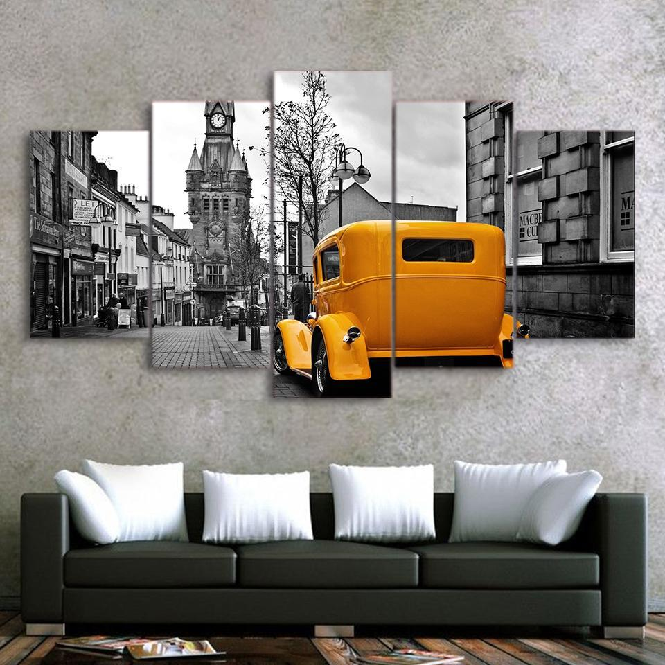 5 Pieces Yellow Hot Rod Wall Canvas - It Make Your Day