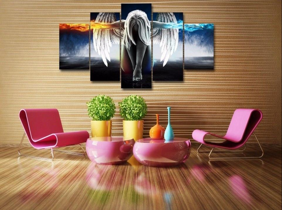 5 Panels Angeles Girls Anime Demons Canvas Painting Wall Art Home Decor - It Make Your Day