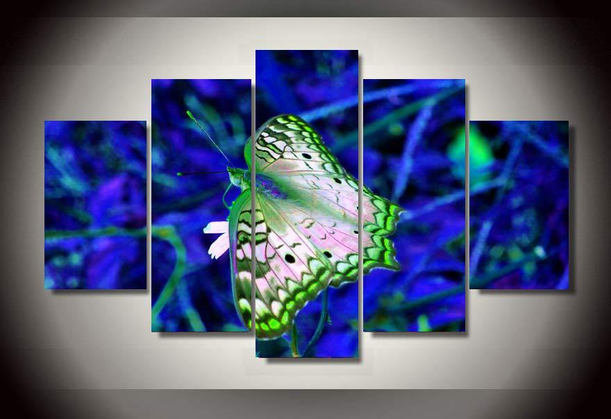 Framed 5 Piece Blue and Green Butterfly Canvas Wall Art Sets - It Make Your Day