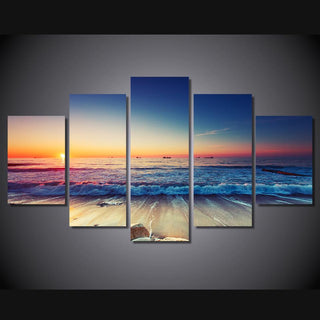 5 Piece Beach Landscape Canvas Painting Sunset - It Make Your Day