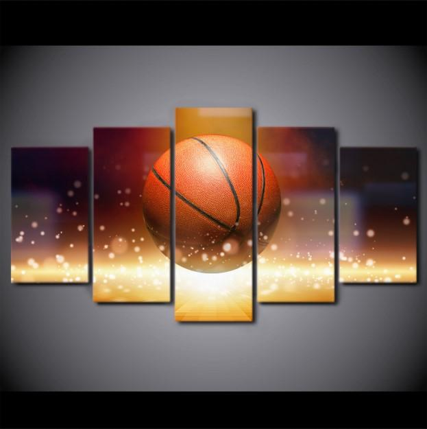 ... 5 Piece Still Life Basketball Sports Canvas Wall Art   It Make Your Day
