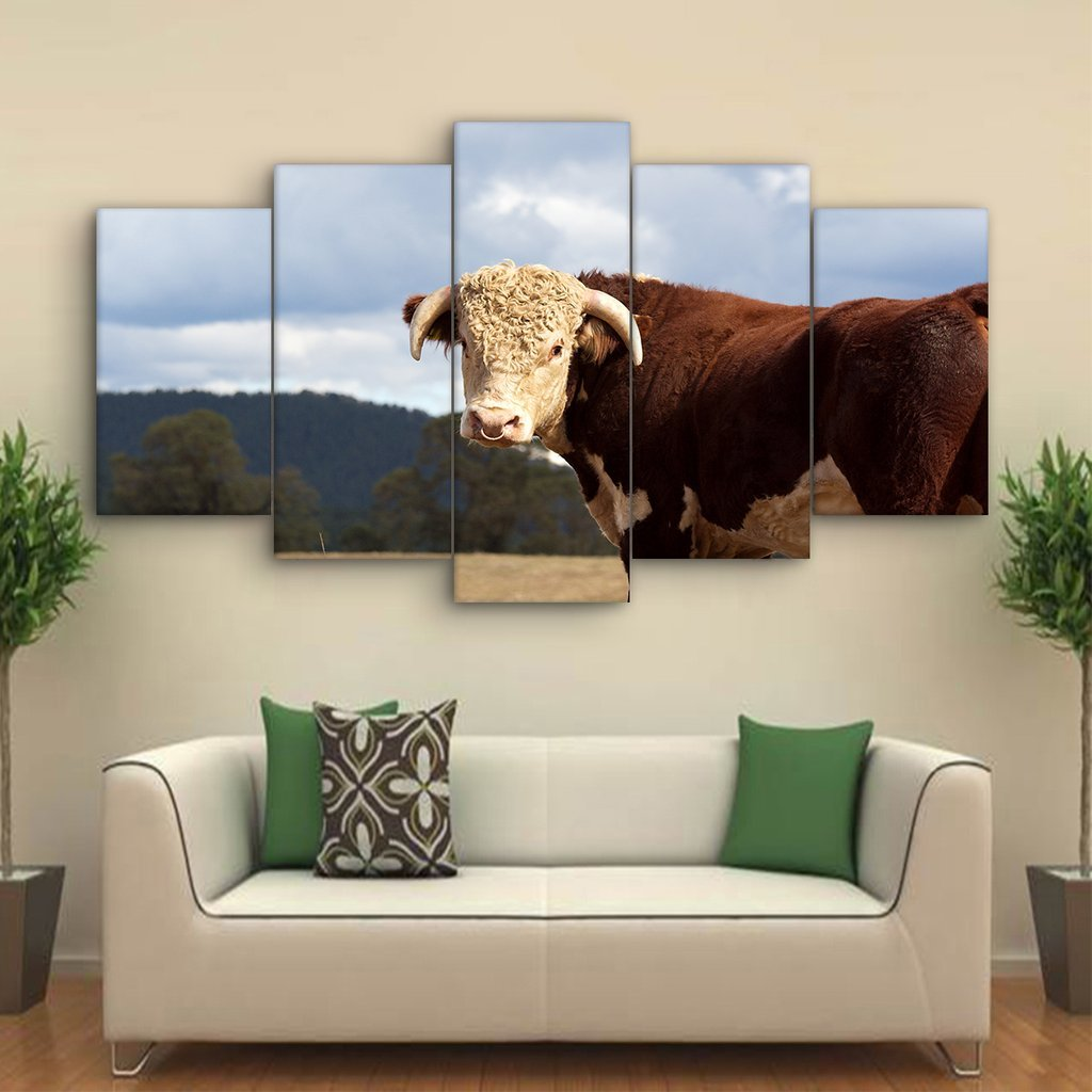 5 Piece Hereford Bull Canvas Paintings - It Make Your Day