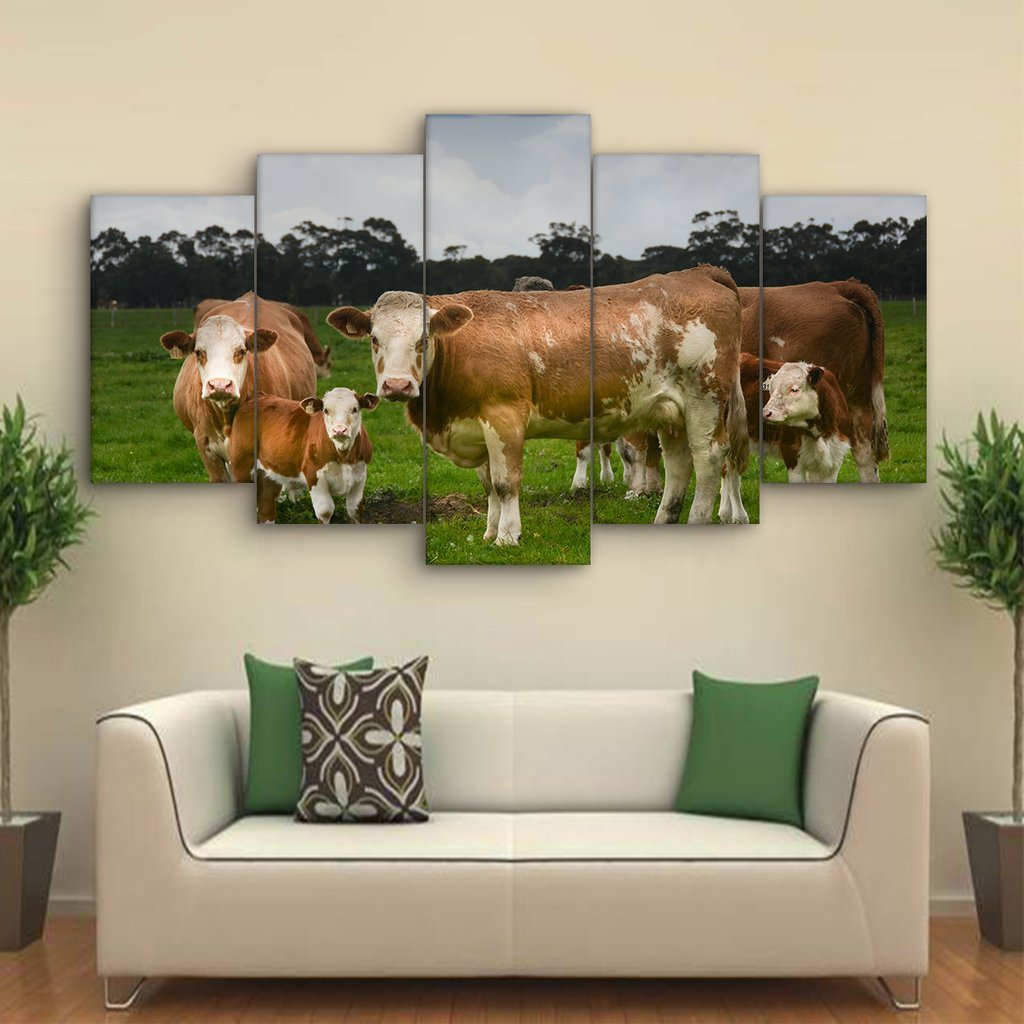 5 Piece Hereford Cattle Canvas Paintings - It Make Your Day