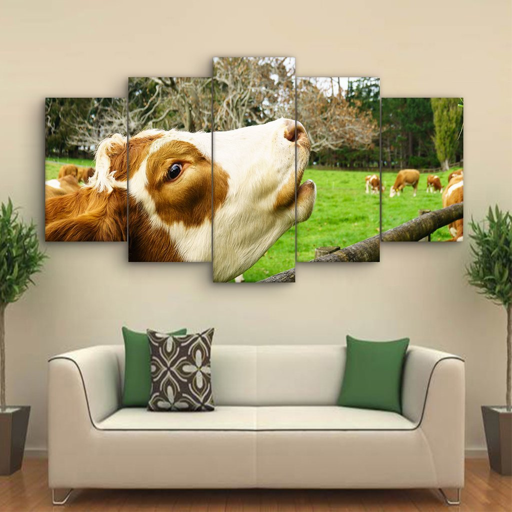 5 Piece Hereford Cow Canvas Paintings - It Make Your Day