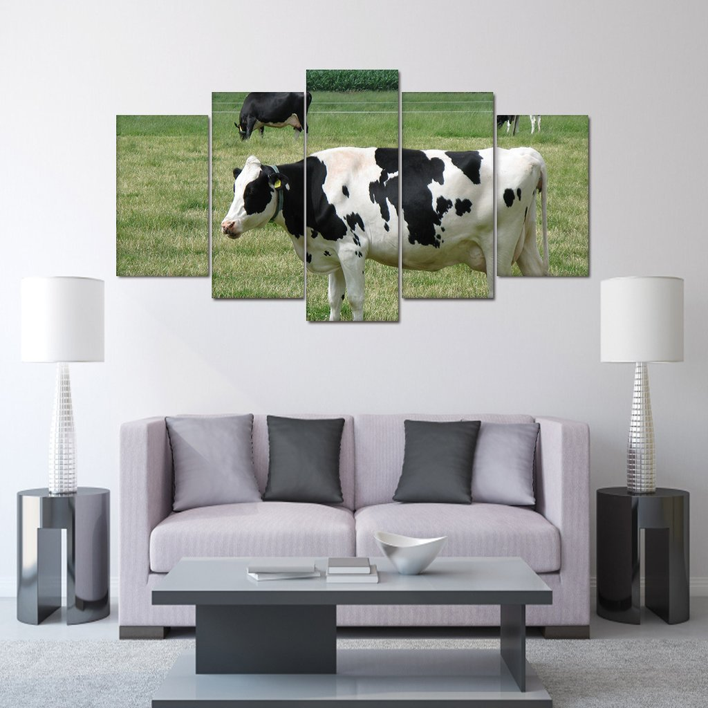5 Piece Holstein Cow Pictures On Canvas Paintings - It Make Your Day