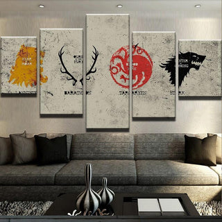 5 Piece Houses Of Westeros Canvas Wall Art Paintings - It Make Your Day