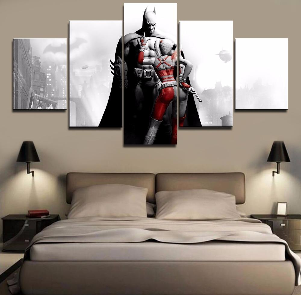 5 Piece Harley Quinn And Batman Movie Canvas Painting Wall Art - It Make Your Day
